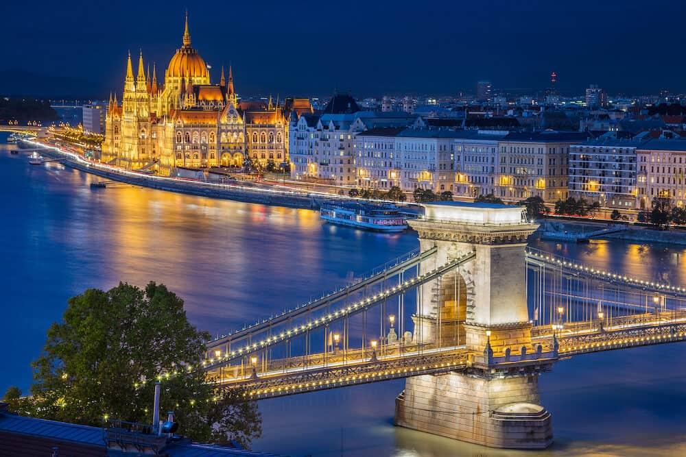 Budapest. Cityscape image of Budapest, capital city of Hungary, during twilight blue hour.