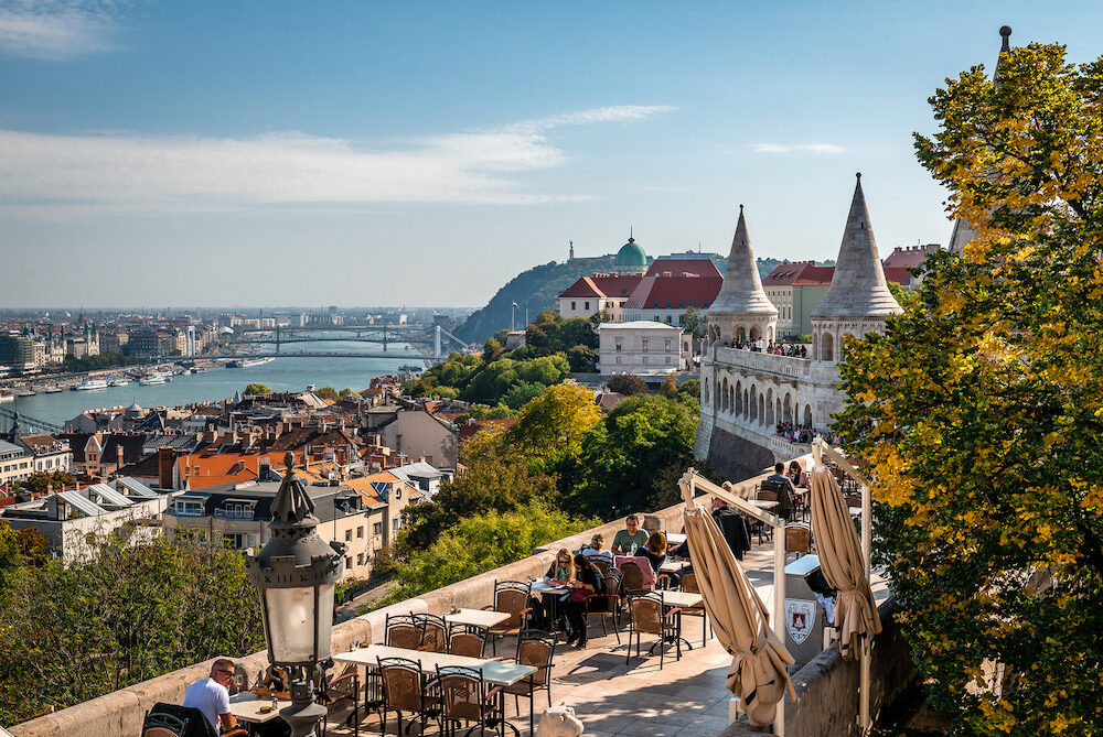 Budapest / Hungary - Tourists enjoy a panoramic view of Budapest from Fishermans Bastion, in Budas Castle District.