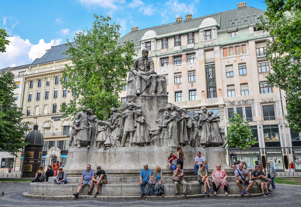 Budapest, Hungary -: Statue of poet Mihaly Vorosmarty at Vorosmarty Square, a public square in the Budapest city centre, Hungary