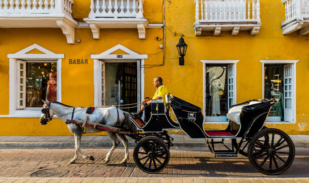 Cartagena, Colombia. A view of a horse carriage taxi in Cartagena, Colombia.