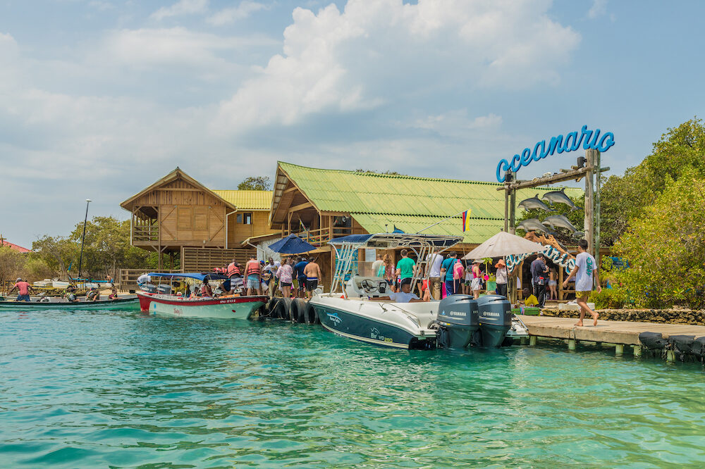Cartagena Colombia. A view of the Oceanario on the rosario Islands in Cartagena in Colombia