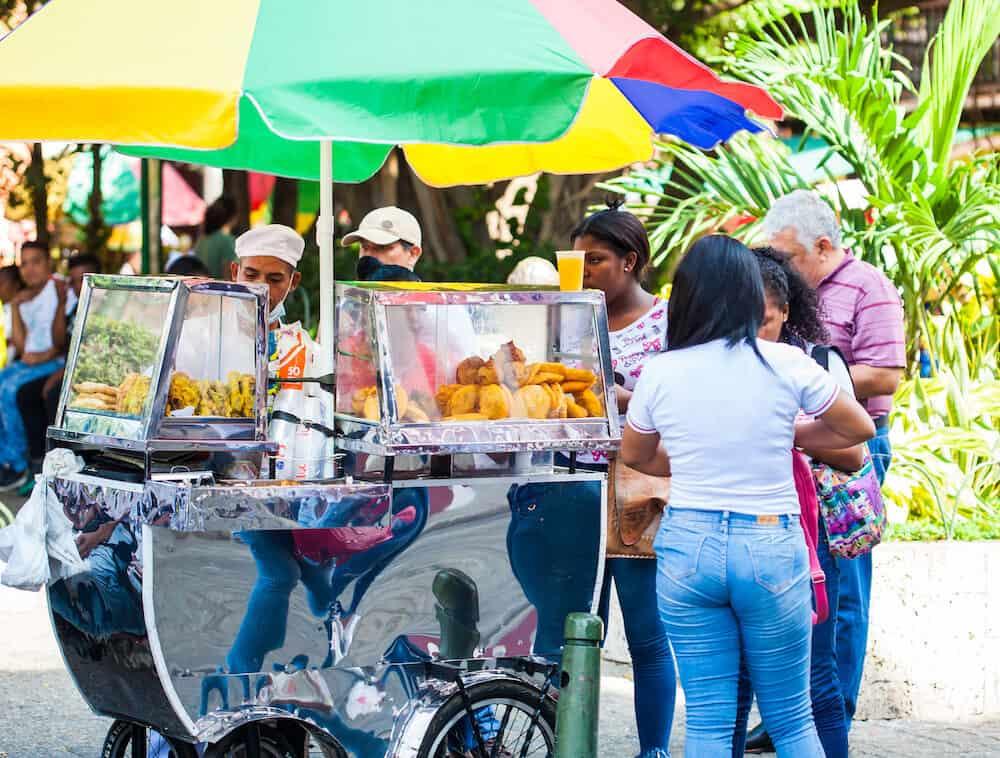 CARTAGENA DE INDIAS, COLOMBIA - Street sale of typical fried food in Cartagena de Indias