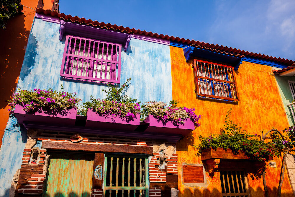 The colorful colonial houses at the walled city of Cartagena de Indias