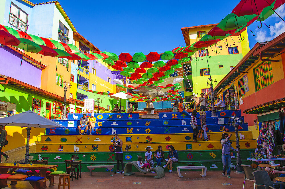 GUATAPE, COLOMBIA - Colorful streets and decorated houses of Guatape city near Medellin, Antioquia, Colombia