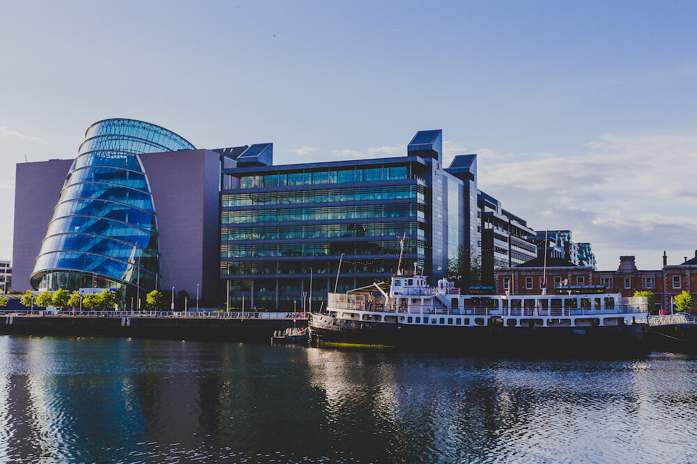 DUBLIN, IRELAND - view of the Convention Centre in Dublin as seen from across the river Liffey
