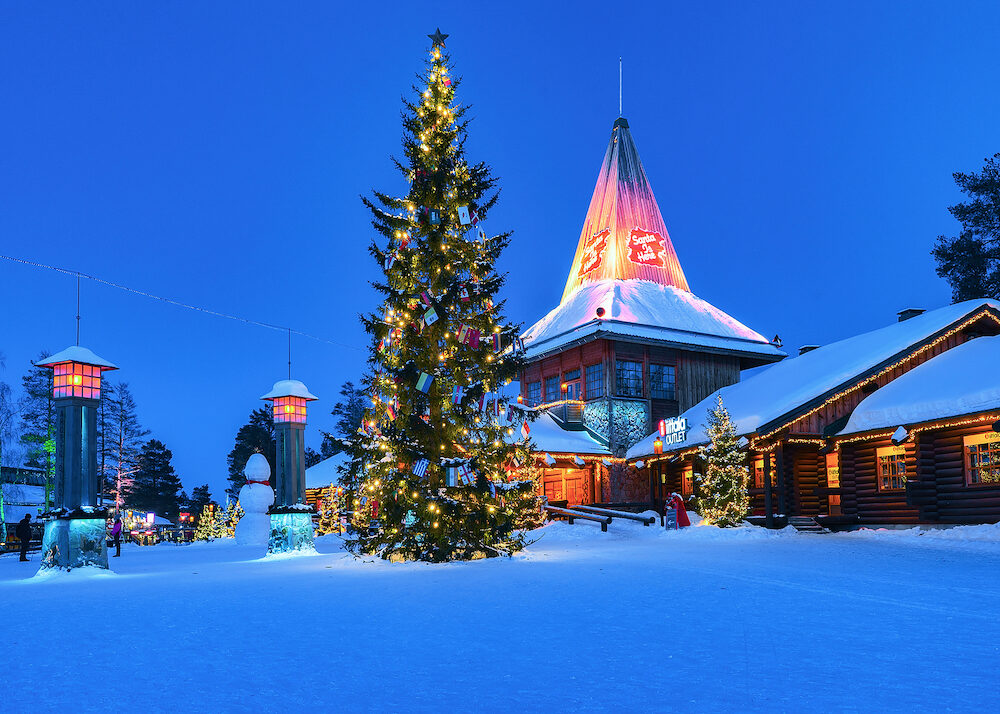 Rovaniemi Finland - : Arctic Circle street lamps in Santa Office at Santa Claus Village Rovaniemi Lapland Finland in winter. Late in the evening. Outdoor