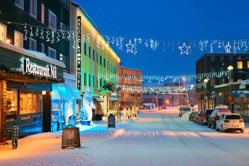 Rovaniemi Finland - Lordi Square of winter Rovaniemi Lapland Finland at night.