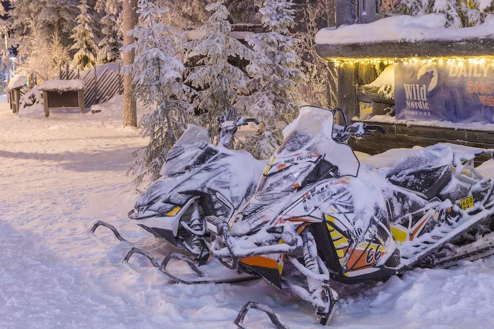Rovaniemi- Finland, Snowmobiles in Front of the Rental Office in Rovaniemi Village in Finland in December 29, 2017