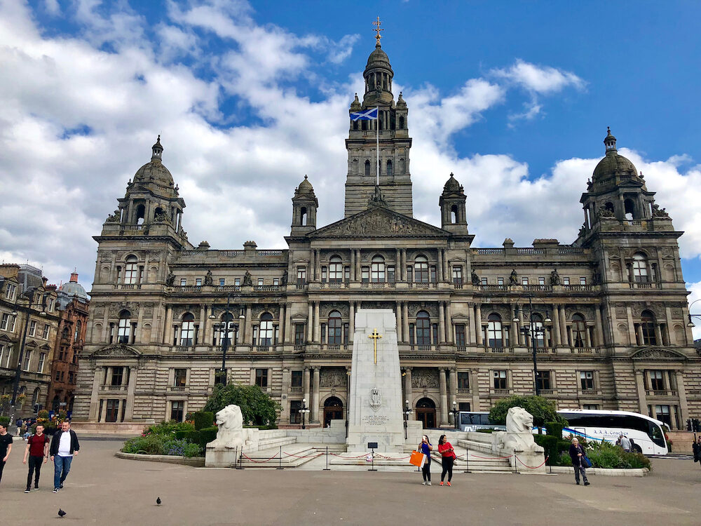 GLASGOW, UK - Glasgow City Chambers, the local government offices, in George Square, Glasgow, Scotland, UK.