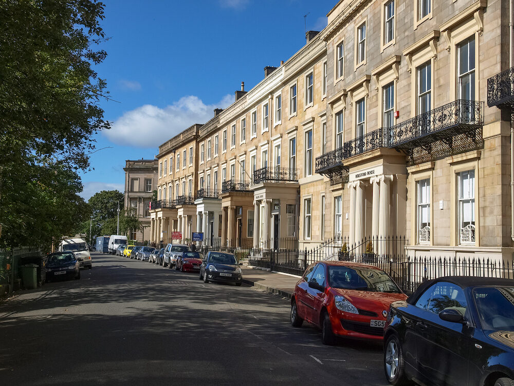 GLASGOW, UK - A row of terraced houses in West End