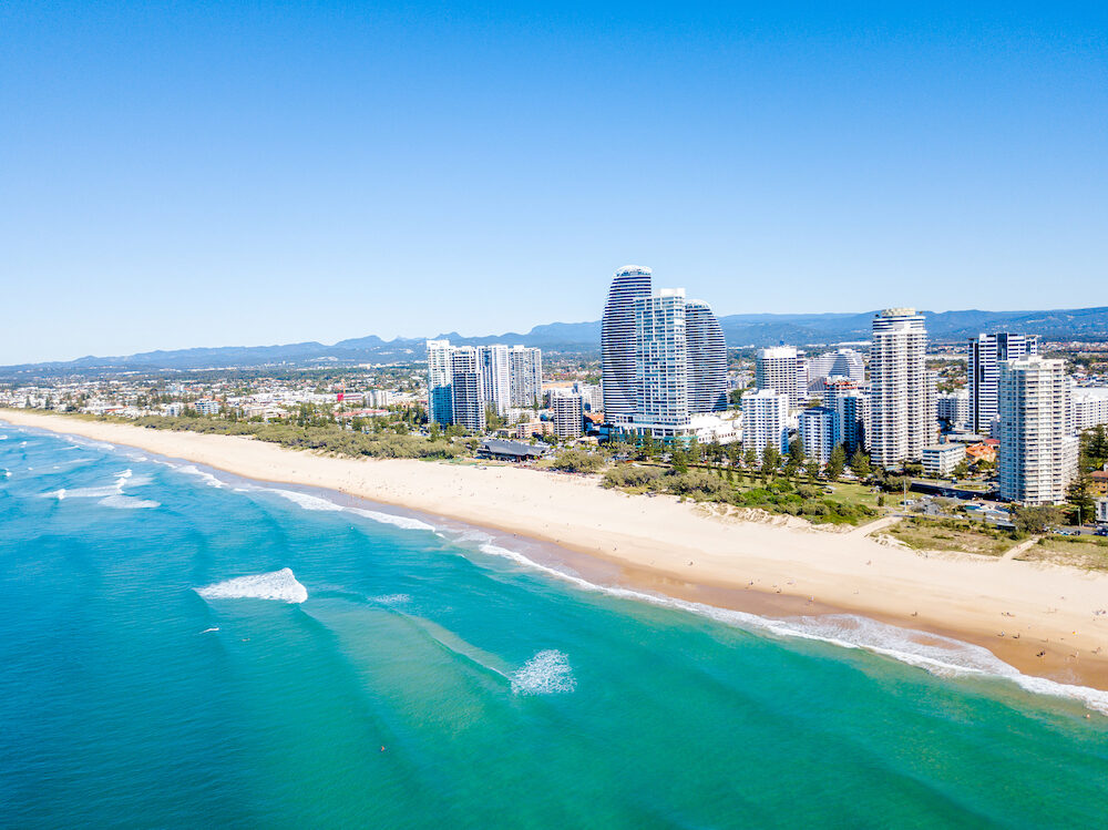 Broadbeach on a perfect blue water day from an aerial view on the Gold Coast