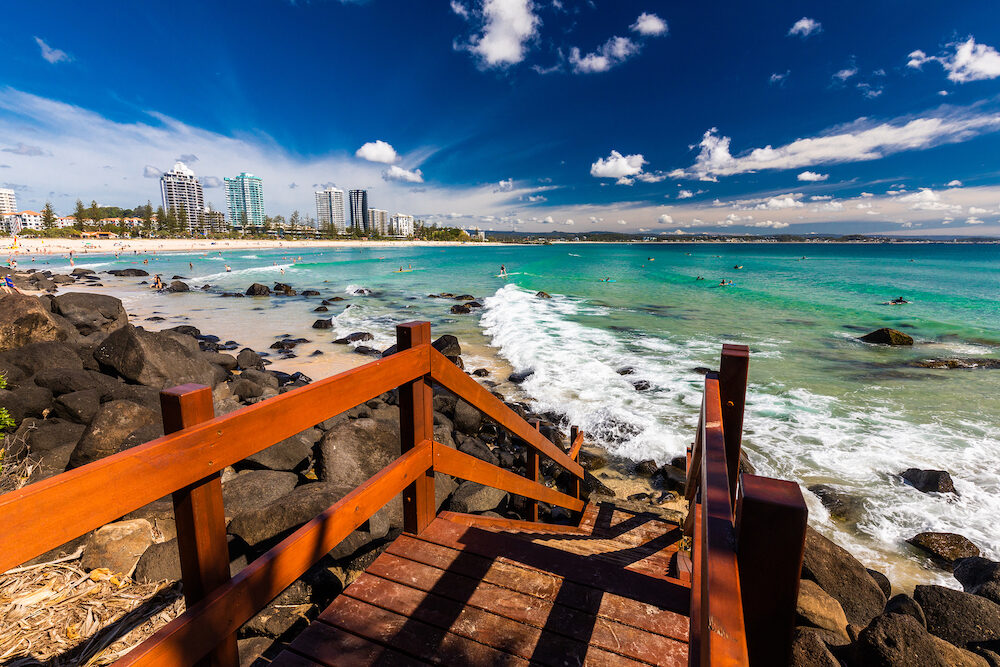 COOLANGATTA, AUS - Coolangatta beach and Rainbow Bay, Gold Coast, Queensland, Australia