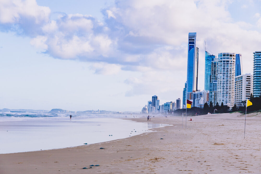 GOLD COAST, AUSTRALIA : view of Main Beach in Gold Coast, the area features golden sand and high-rise buildings overlooking the Pacific Ocean