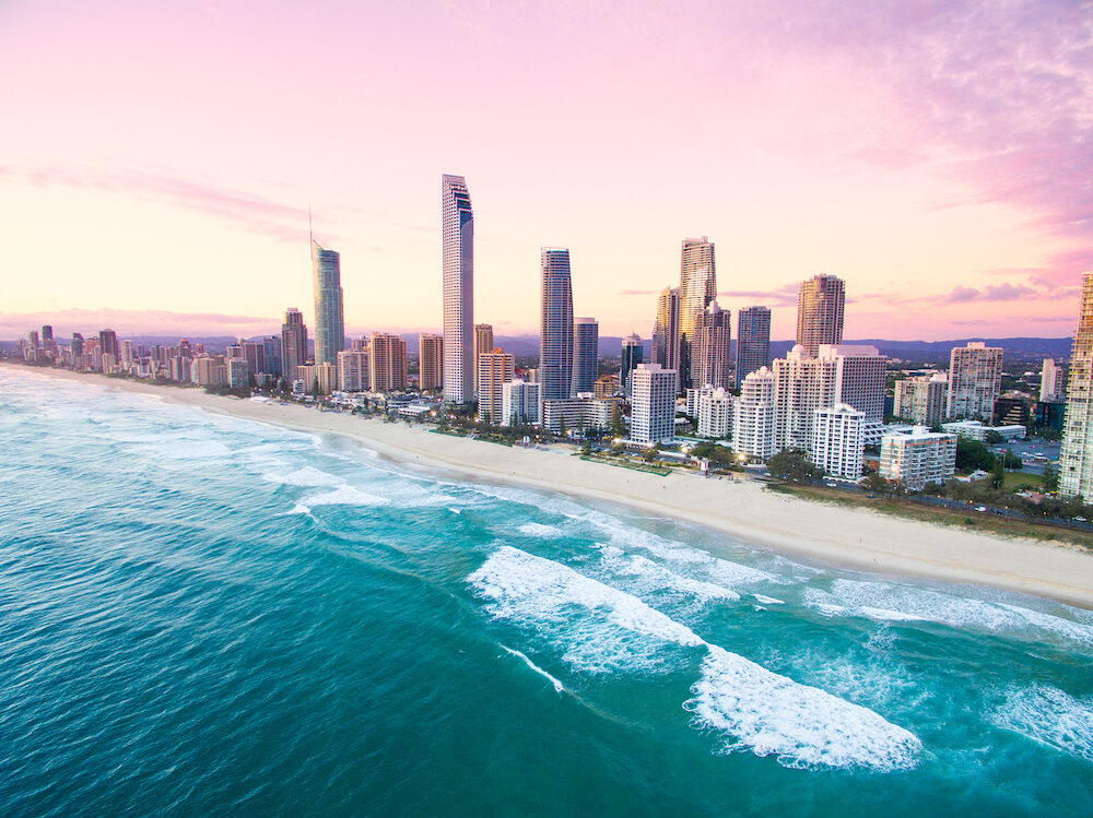 An aerial view of Surfers Paradise on the Gold Coast, Australia