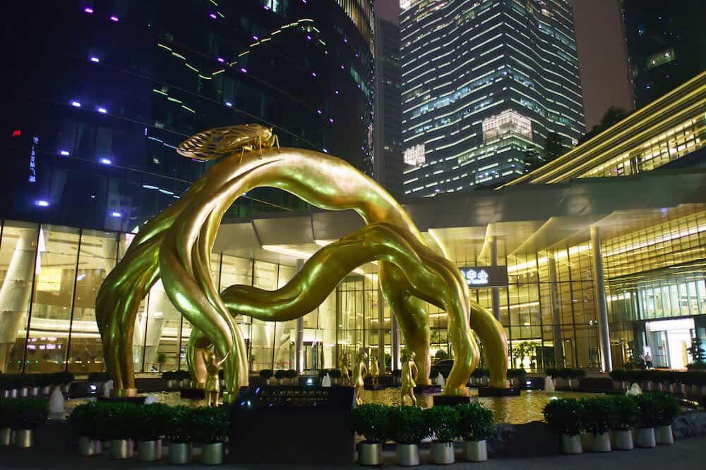 GUANGZHOU, CHINA - area near Guangzhou International Finance Centre, IFC. IFC is a 103-storey, 438.6 m skyscraper at Zhujiang Avenue West in the Tianhe District of Guangzhou