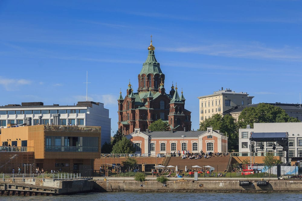 HELSINKI, FINLAND, Embankment in Helsinki, Uspenski Cathedral in the background