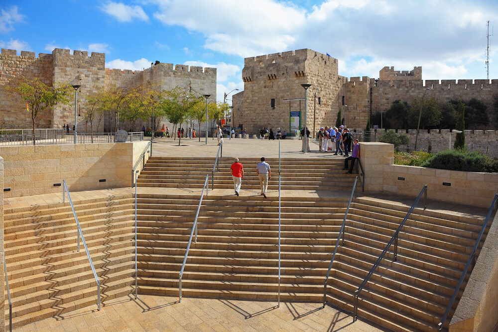 JERUSALEM, ISRAEL - Amphitheater stone steps leading to the Jaffa Gate in Jerusalem