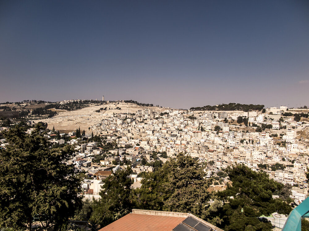 Panorama overlooking the Part Old City of Jerusalem, Israel, including the Mount of Olives as backgrund