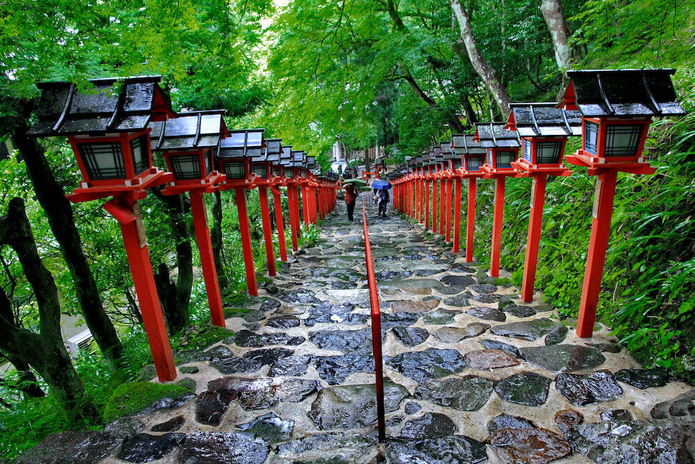 Red Light Poles continued staircase entrance to Kibune-jinja shrine Kyoto Japan.