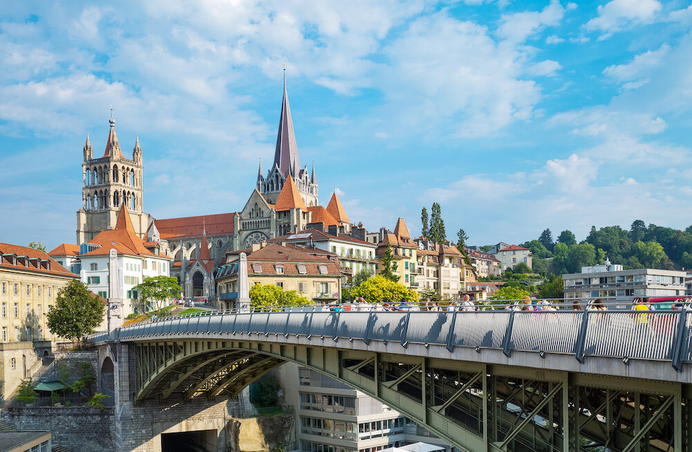 Lausanne, Switzerland - The Cathedral hill seen from the Bessieres bridge