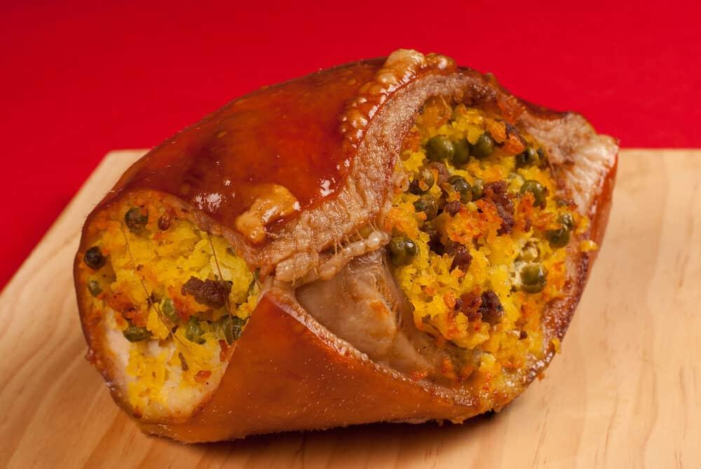 Lechona stuffed roast pork a Colombian Christmas meal
