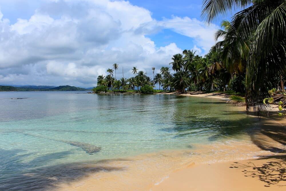 "Main view of the southern beach at ""Pelicano"" Island, close to Yandup Island lodge, kuna indians territory, San Blas, Panama."