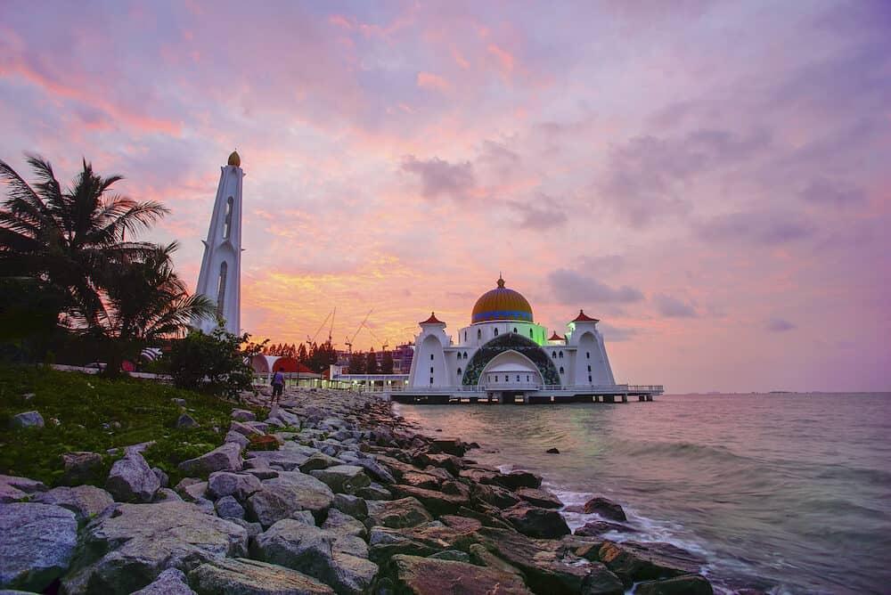 An Evening view during sunset at the Floating Mosque,Penang Port, Seberang Perai, Malaysia.