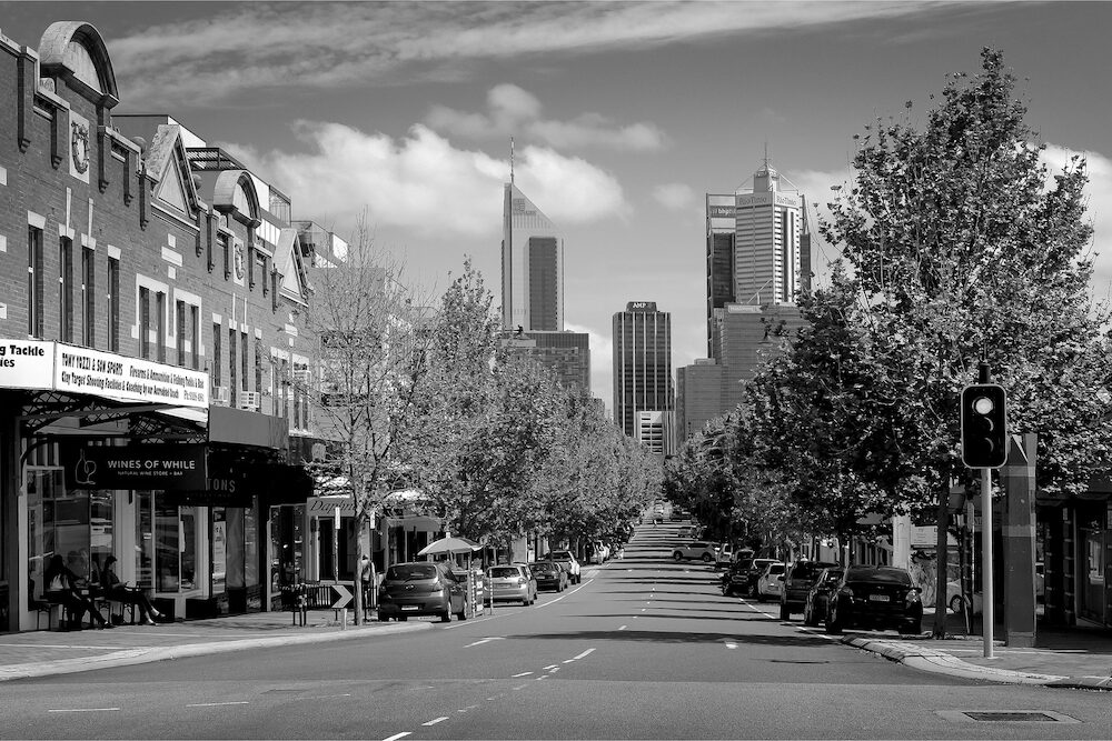 Black and white photo of William Street in Northbridge, Perth, Western Australia, Australia. Photographed: