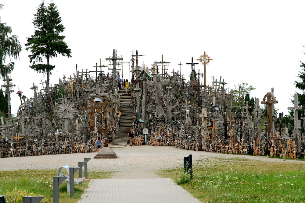 SHAULULIA, LITHUANIA - Legendary and holy hill of crosses, place of pilgrimage and worship of Christians around world. Hill of Crosses is unique monument to history of religious folk art