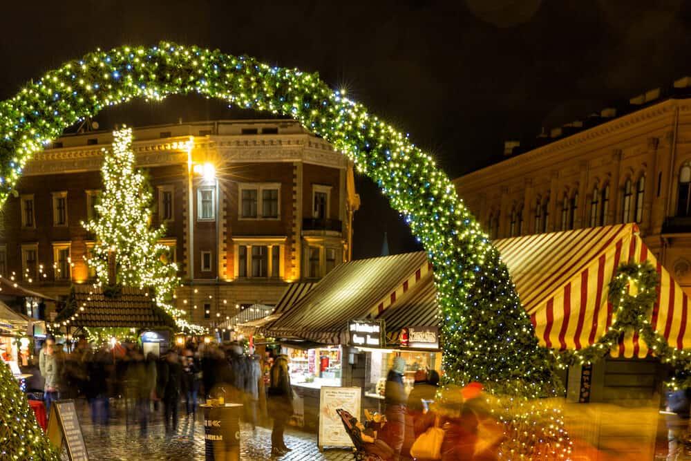 RIGA, LATVIA - Riga central Christmas market, Dom square, Old Town