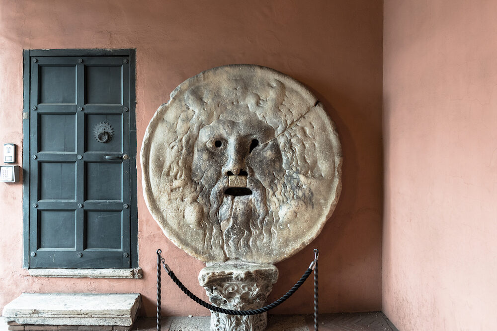 Horizontal picture of old object The Mouth of Truth (Bocca della Verita) , located in Rome, Italy