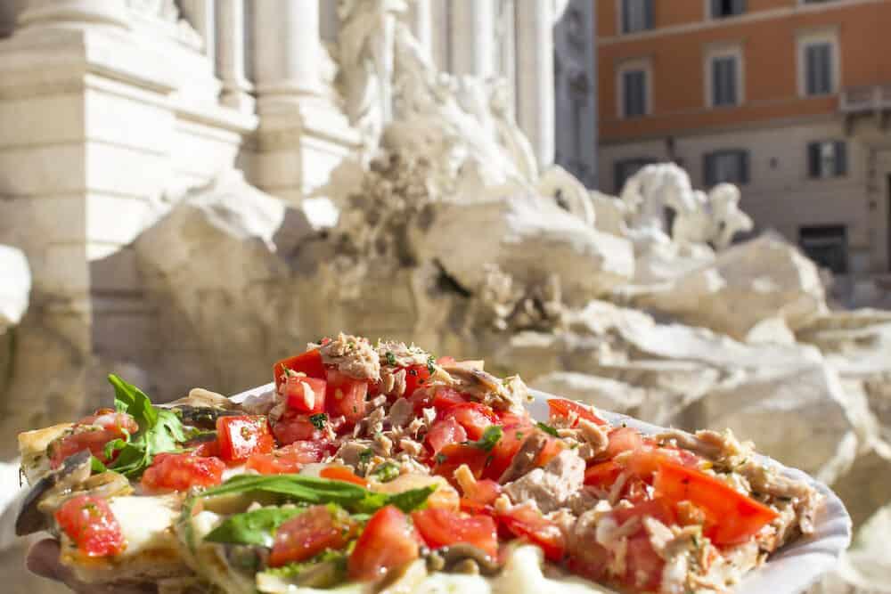 Italian pizza near the Trevi Fountain in Rome