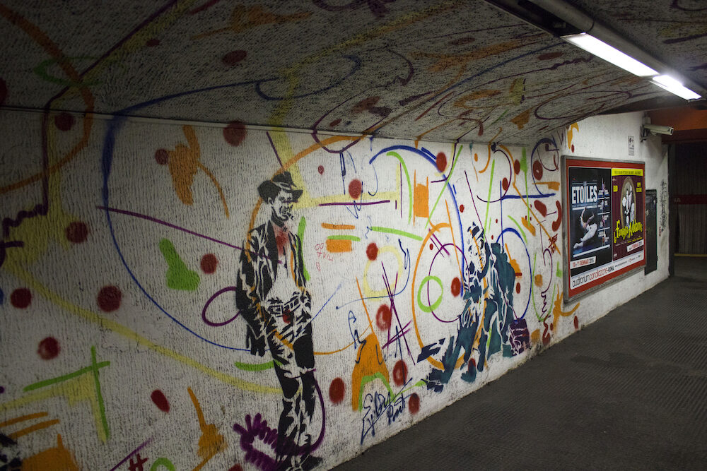 ROME ITALY - : Mural by French street artist EpsylonPoint in the corridor of Rome metro station Italy