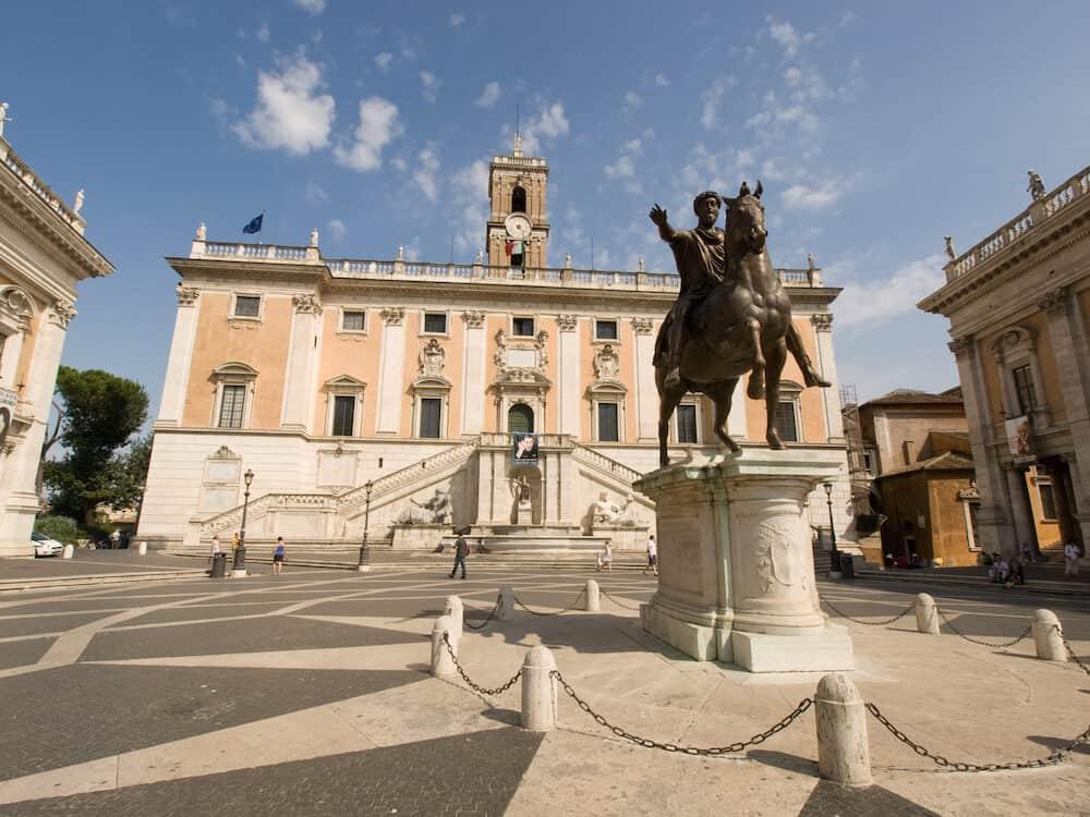 Piazza del Campidoglio on the top of Capitoline Hill with the fa