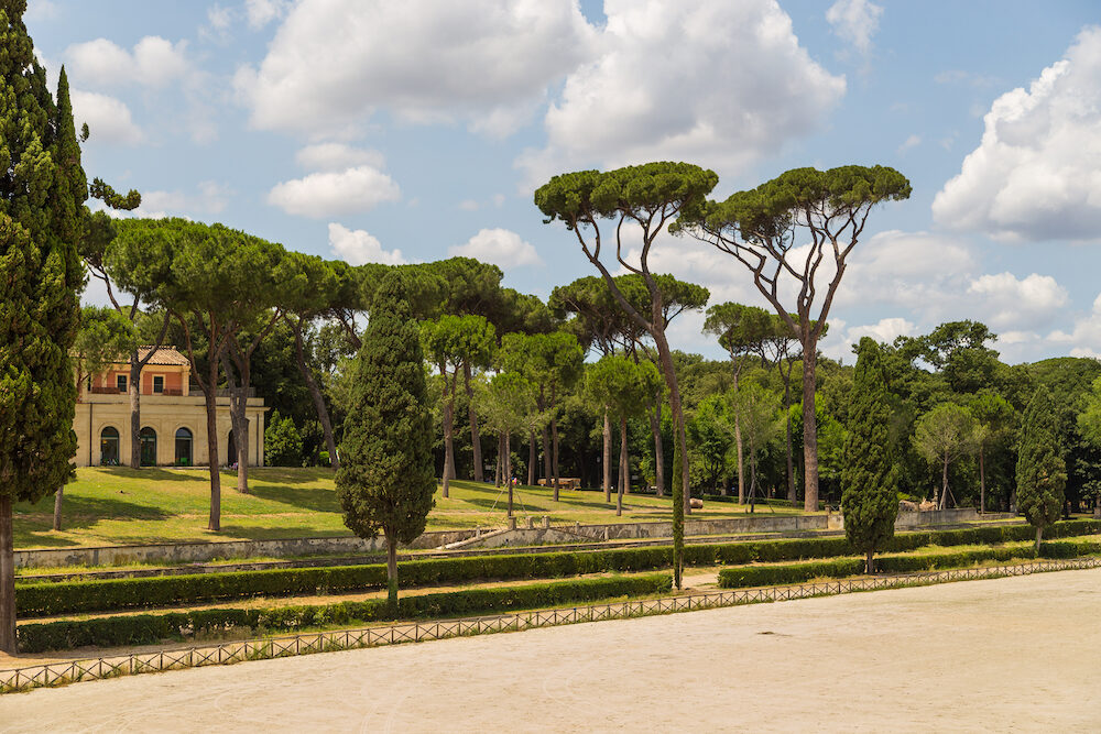 Siena square inside the Villa Borghese gardens Villa Borghese gardens is a landscape garden in the naturalistic English manner in Rome.