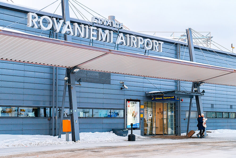 Rovaniemi Finland: Entrance in Rovaniemi airport in winter