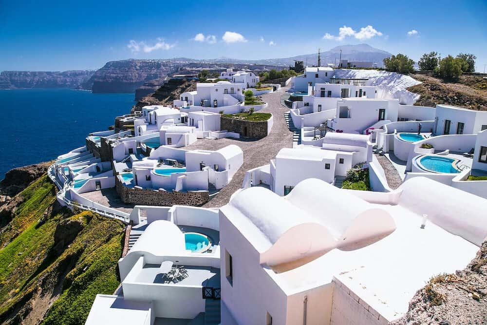 Exclusive apartments in Akrotiri with a panorama romantic view on Santorini island, Greece, Aegean sea.