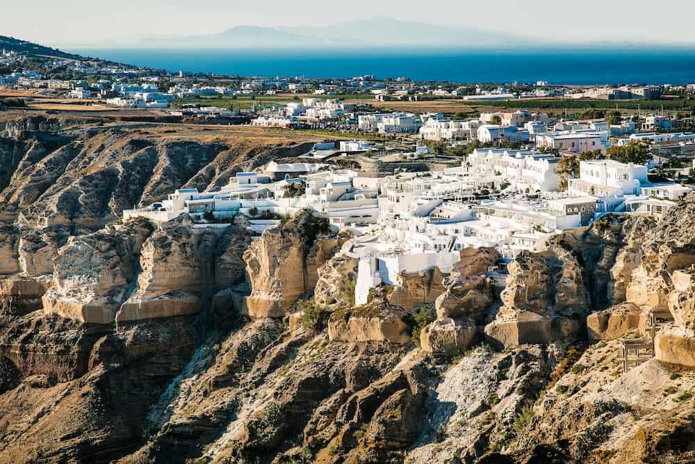 Panoramic view on Megalochori at Santorini island, Greece.