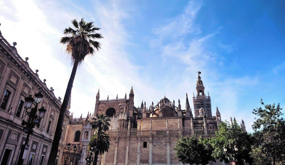 Seville cathedral in June. Barrio de Santa Cruz, the historical city center.
