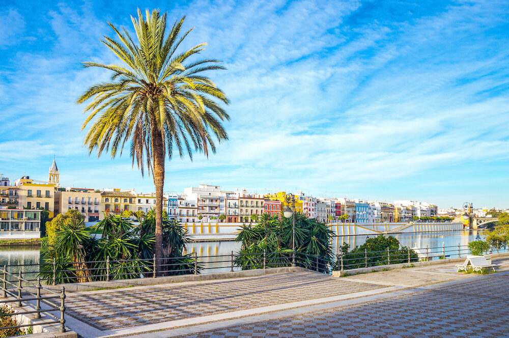 Spain, Andalusia, Seville, the houses of the Triana quarter on the Guadalquivir riverbank