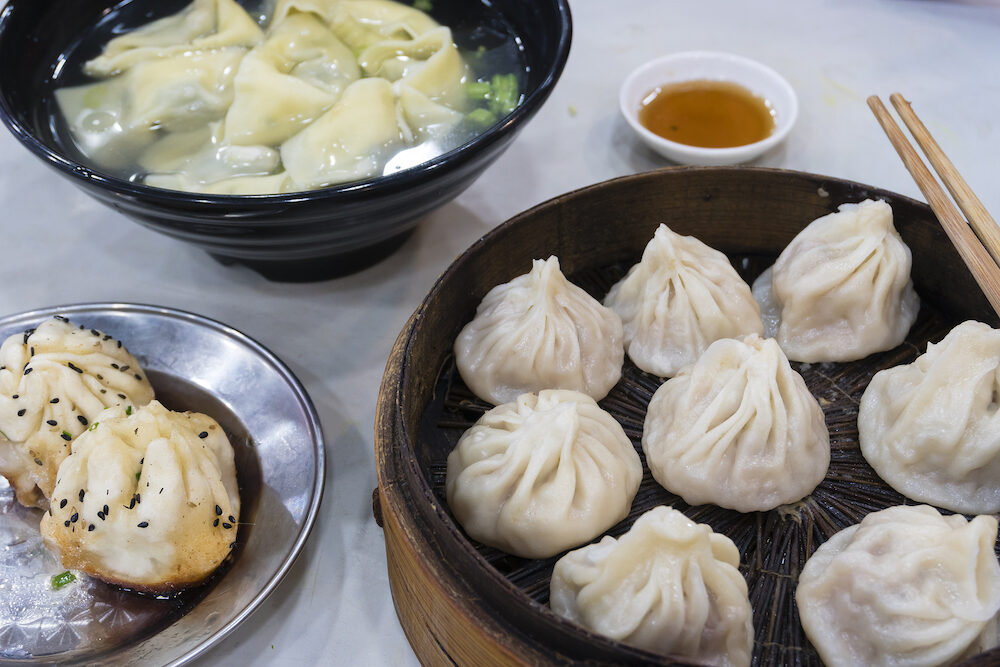 Traditional Shanghai food including dumpling, wonton and xiaolongbao