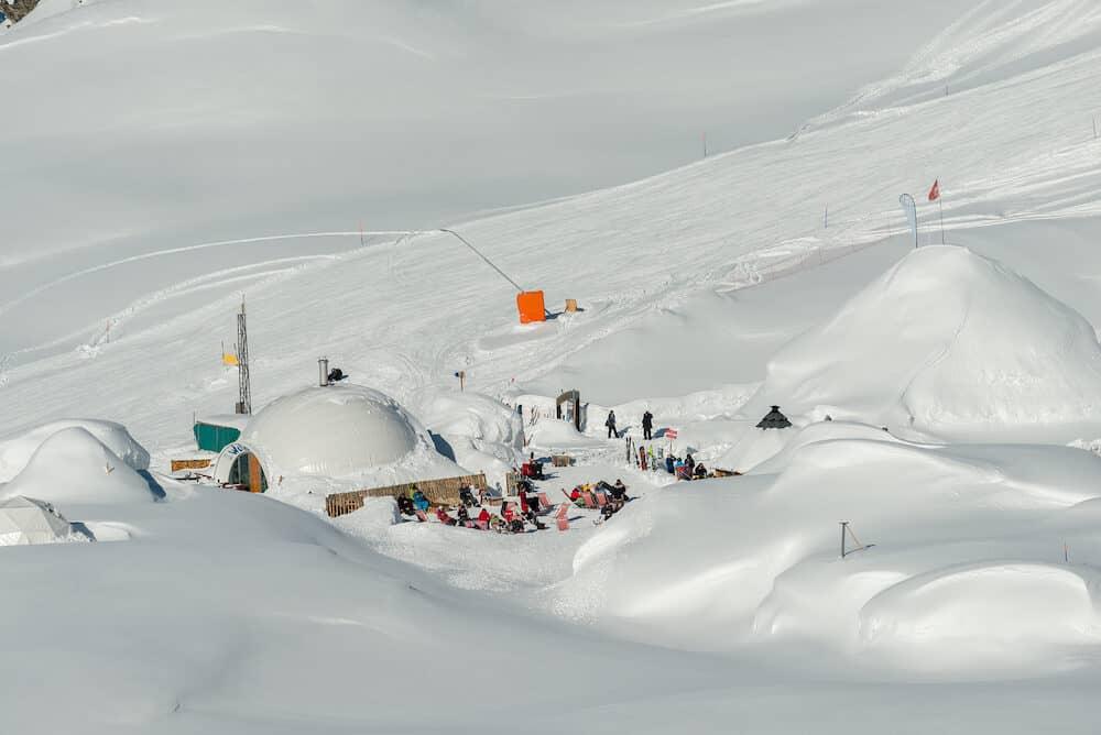 ZERMATT, SWITZERLAND : The Iglu Dorf is a restaurant and bar in an igloo on the Gornergrat slopes. Zermatt Switzerland