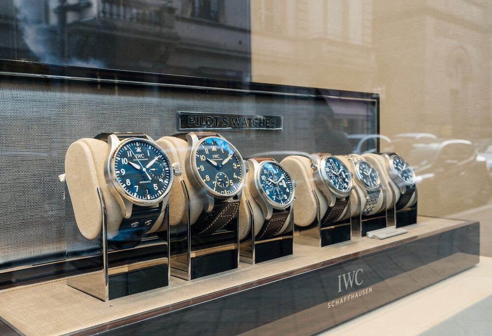 STRASBOURG FRANCE - Luxury watches collection in store made by IWC Schaffhausen on sale in hi-gh-end time fashion boutique - Portofino Collection