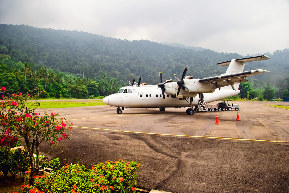 Plane at the airport on the island of Tioman. Malaysia