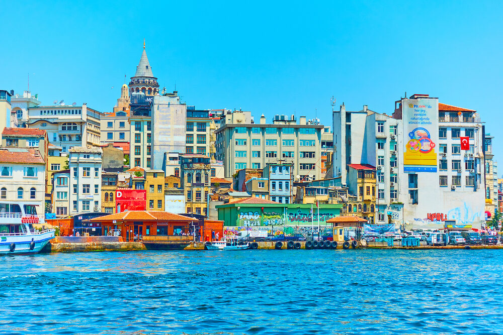 Istanbul, Turkey - : Galata district and Karakoy quayside in Istanbul