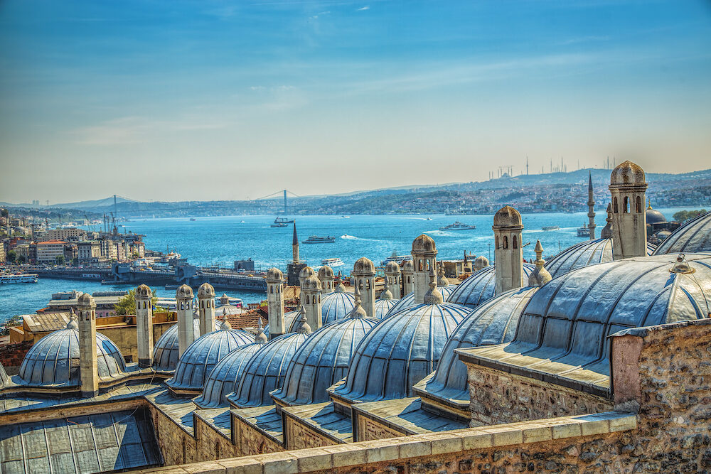 Panoramic view of Istanbul, Turkey. Istanbul through the domes and chimneys of the Suleymaniye Complex