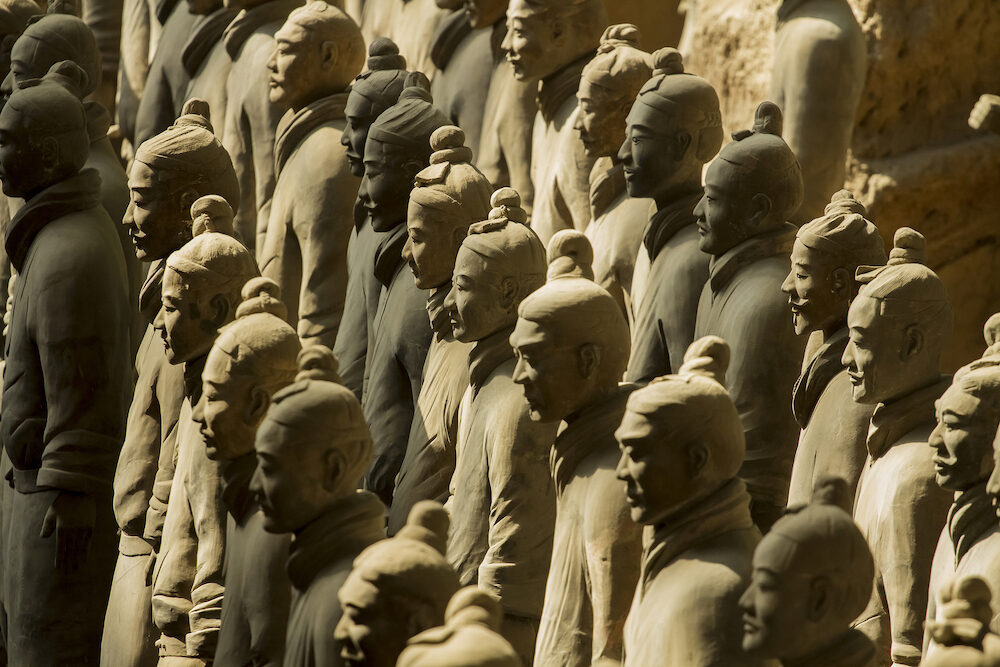 Xi'an , China Terracotta Army is a collection of terracotta sculptures depicting the armies of Qin Shi Huang the first Emperor of China. 210-209 BC