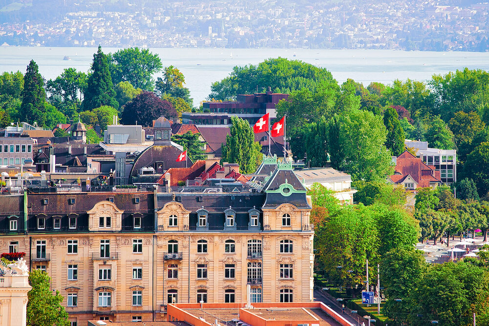 Zurich, Switzerland - Rooftops view on Zurich city center, Switzerland. Seen from Lindenhof hill