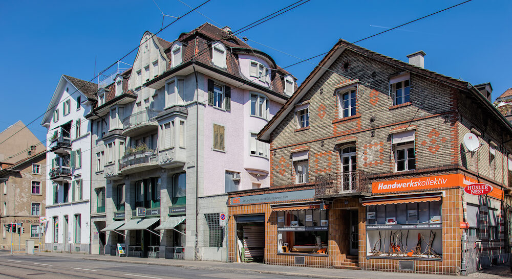 Zurich, Switzerland - buildings on the Limmatstrasse street. Zurich is the largest city in Switzerland and the capital of the canton of Zurich.