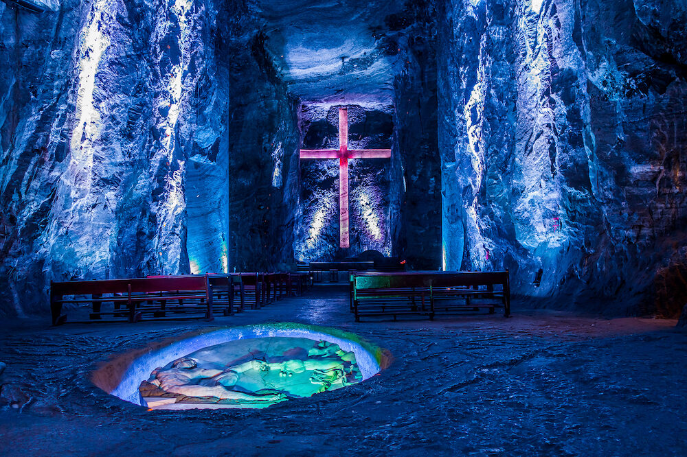 ZIPAQUIRA, COLOMBIA - : Marble and salt sculptures at underground Salt Cathedral Zipaquira built within the multicolored tunnels from a mine. One impresive accomplishment of Colombian architecture.